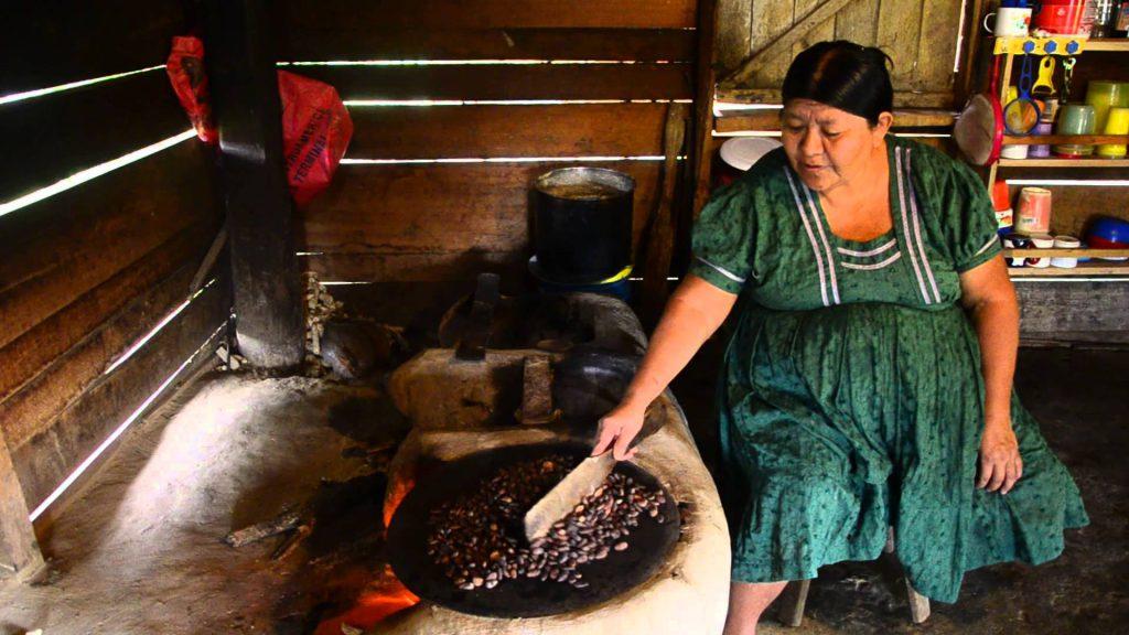 roasting cocoa beans